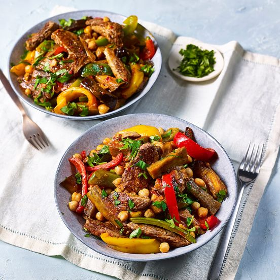 Moroccan Lamb With Aubergine And Peppers