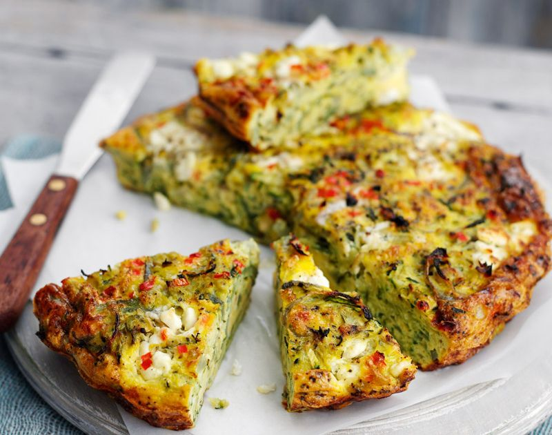 Crustless Red Onion And Courgette Quiche