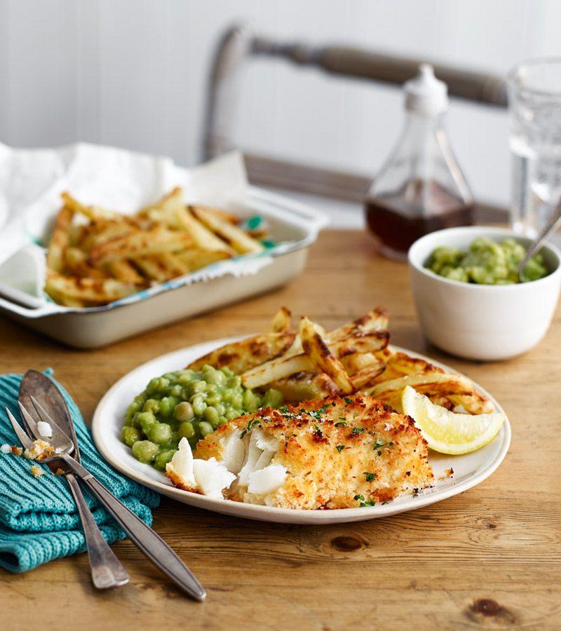 Fish slimming world chips with mushy peas