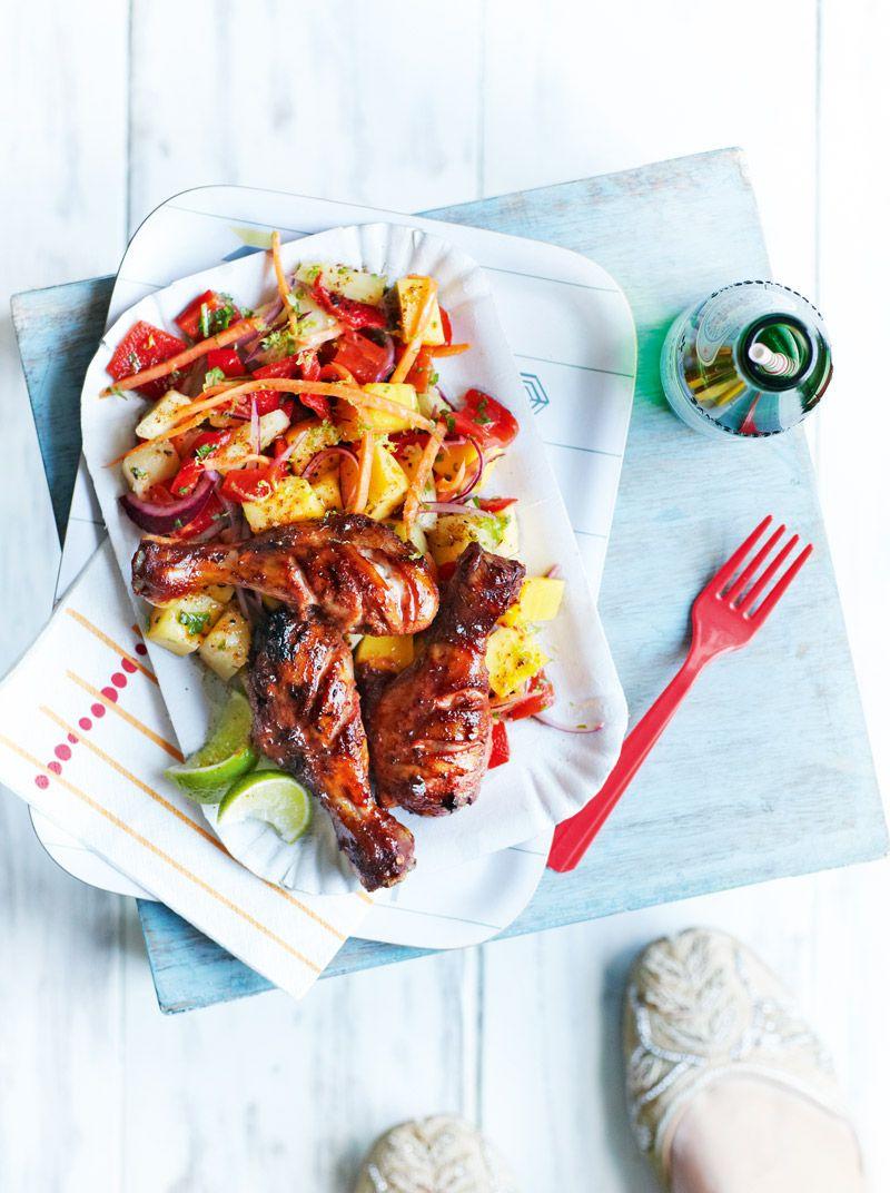 Jerk chicken with fruity Caribbean slaw